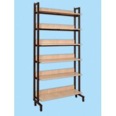 Шкаф-стеллаж односторонний на металлокаркасе с горизонтальными полками
